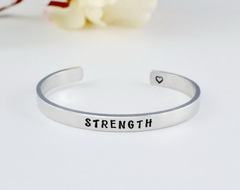 STRENGTH - Hand Stamped Aluminum Cuff Bracelet, Adjustable Heart Bangle Jewelry, Personalized Inspirational Gift