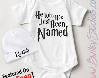 ORIGINAL He Who Has Just Been Named Newborn Baby One Piece, Personalized Baby Shower Gift, Pregnancy Announcement, Gender Reveal, Infant