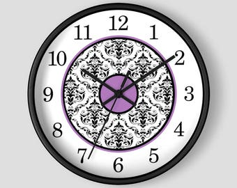 Purple Damask Wall Clock - Black White Damask with Purple Accents - 10-inch Round Clock - Made to Order