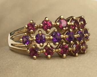 Gold Amethyst Ring, Triple Row, 9ct  - U.S. Size 7.5, UK P, 9K Statement, Cocktail Ring, Giftboxed