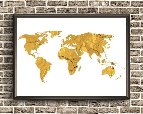 Gold foil world map gold foil wall art gold foil print map gumiabroncs Images