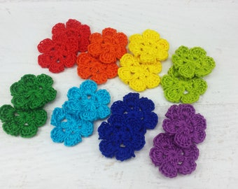 16 Crocheted Flowers, Hand Crochet Flowers in Rainbow Colors, 1.5 inch Crochet Flower Appliques, Colorful Flower Pieces