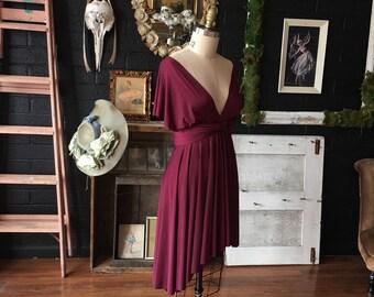 Restless Sea Burgundy Short Octopus Infinity Convertible Wrap Dress~ Bridesmaids, Wedding, Bohemian