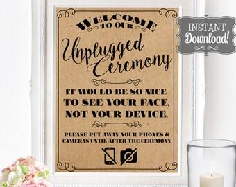 Unplugged Ceremony Poster - INSTANT DOWNLOAD - Wedding Art, Wedding Poster, Wedding Sign, No Social Media, No Phones, No Cameras