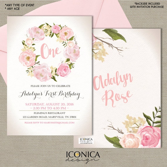 Floral first birthday invitation garden party invitation pink stopboris Choice Image