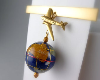 Gold Tie Clip with World Globe and Airplane with Free USA Shipping  -Last one