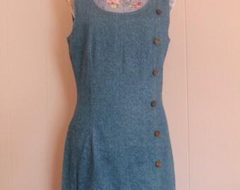 Sale! 90's Women's bodycon sleeveless Denim Dress