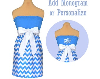 Light Blue + White Chevron Dress