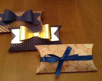 Gold and Blue Polka Dot Pillow Boxes - Set of 3