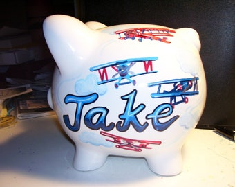 Children's Personalized Piggy Bank - Antique Airplanes