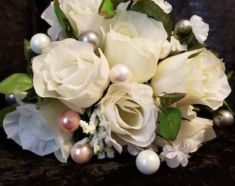 Wedding Bouquet Accessories Beaded Accent/Filler Stems Pearls, Gray Blush Pink White Cream