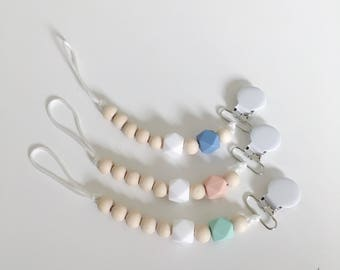 Beaded Pacifier Clip - Silicon Beads - Wooden Beads - Paci Clip - Binky Clip - Baby Teether - Baby Soother -  Pacifier Holder - Binky Holder