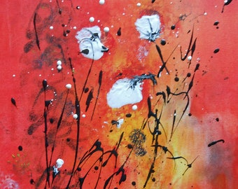 """Painting """"White Poppies on a red ground"""""""