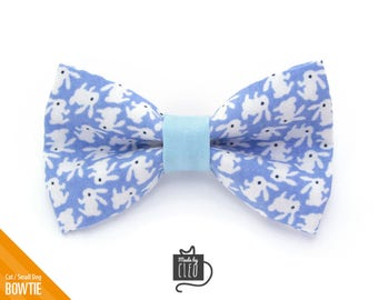 """Easter Cat Bow Tie - """"Hoppy Hour / Blue"""" - Bunny Cat Collar Bow Tie / Kitten Bow Tie / Rabbit / Small Dog Bow Tie - Removable (One Size)"""