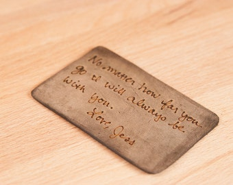 Personalized Leather Wallet Insert - Custom Wallet Card with inscription in antique black - Third Anniversary Gift
