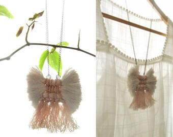 Modern weaving jewelry, tassel and fringe necklace, natural dyeing, handwoven necklace, textile necklace, macrame pendant, boho necklace