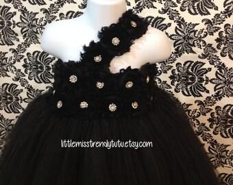 Black Flower Girl Tutu Dress, Black Flower Girl Dress, Flower Girl Dress, Wedding, Black Tutu, Black Tutu Dress, Girls Flower Girl Dress