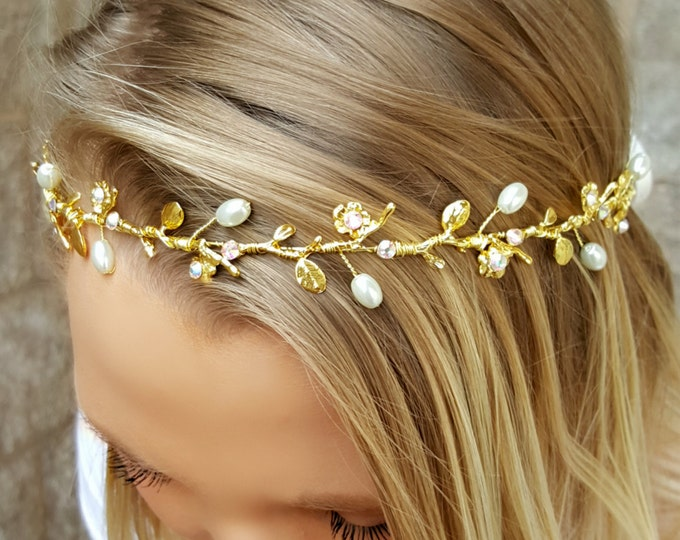 Gold Bridal Headband, Gold Vine, Floral Leaf Accents and Pearls, Silk Ribbon Tie, Wedding hair Vine, Bridal Halo Headband, Gold Headband