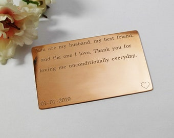 Copper Wallet Insert gift Custom personal messages for him Gift For Him wallet card insert for boyfriend husband custom engraved gift