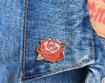 Rose Pin, Hard Enamel Pin, Jewelry, Art, Flower, Gift (PIN87)