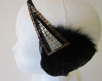 Black 1920s headpiece, Art Deco fascinator, black feather, great gatsby headband Bronze Stretch Elastic Velvet 1920s Flapper Headpiece,