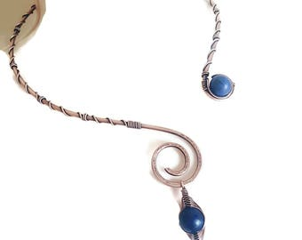 copper wire torc necklace - lapis necklace wire wrapped jewelry - copper wire choker torc - blue  lapis necklace copper wire jewelry torc