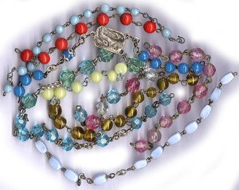 vintage ROSARY bead REMNANTS assorted antique parts assortment old rosary chain pieces TEN shades colorful assorted glass