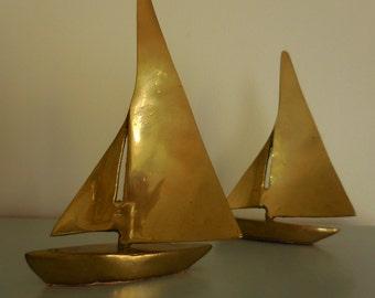 A Pair of Brass Sailboats