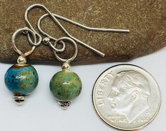 Blue/green ceramic bead earrings