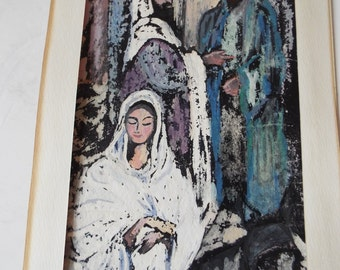 mid century modern abstract Christian wall art  painting  Nativity watercolor Gouache batik watercolor on paper holy family Flight to Egypt