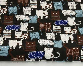 Cotton Fabric, Printed fabric, Quilting Fabric, Cats Fabric,Black White Cats,Fabric by the Yard-Half Yard