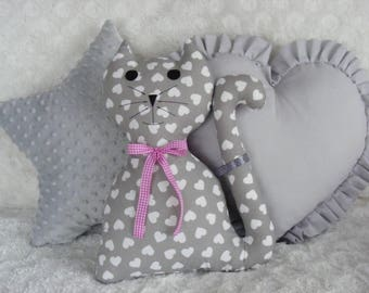 3 PCS SET star,cat,heart, cushions,pillow,pink,gray,blue,mint,baby,girl,cute,gift,gift idea,birthday,kids room,