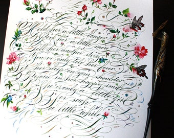 Custom Floral Calligraphy Vows