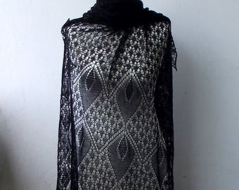 Black  hand knitted merino lace stole, black cobweb shawl