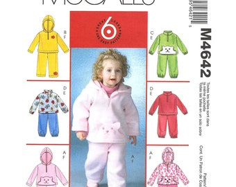 Girls Fleece Hooded Top & Pants Pattern McCalls 4642 Cat Pocket Jacket Trousers Toddler Size 1 2 3 4 Sewing Pattern Uncut