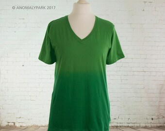 Boho top ombre dip dyed gradient green to green tshirt aesthetic clothing pastel goth pastel grunge womens baggy t shirt Size Large