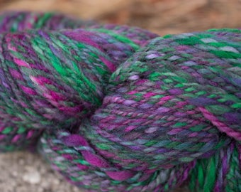 Lavender Fields - Hand spun 2 ply purple green wool yarn Hand dyed 190 yards Worsted 12wpi knitting crochet weaving