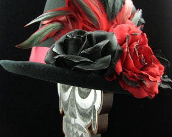 Heart Throb Top Hat, Day of the Dead/Halloween/Mardi Gras/Wedding/Cosplay Accessory