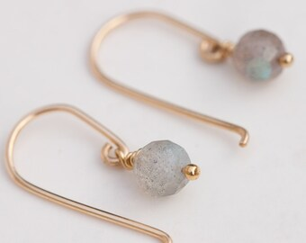 Delicate Gemstone Earrings, Tiny Drop Earrings, Blue Flash Earrings, Dainty Earrings, Gold tiny Earrings, Silver Tiny earrings, gemstones