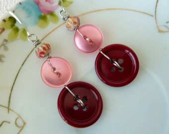 Button Earrings, Pink Red Earrings, Vintage Button Earrings Red Pink Berry Dangle Earrings, Handmade By KreatedByKelly