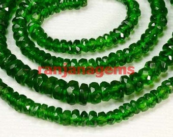 chrome diopside faceted rondelle beads ,natural chrome beads , chrome diopside loose gemstone beads necklace