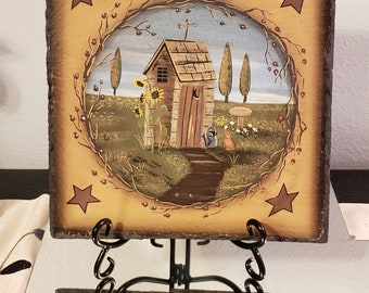 Rustic Metal Outhouse Decorative Picture Sign