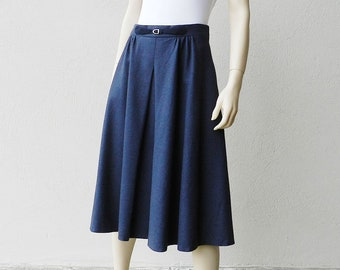 50s Full Skirt Blue Navy Circle Skirt High Waisted Midi Skirt 80s Does 50s Pleated Flared Wool Skirt W 29 Size M