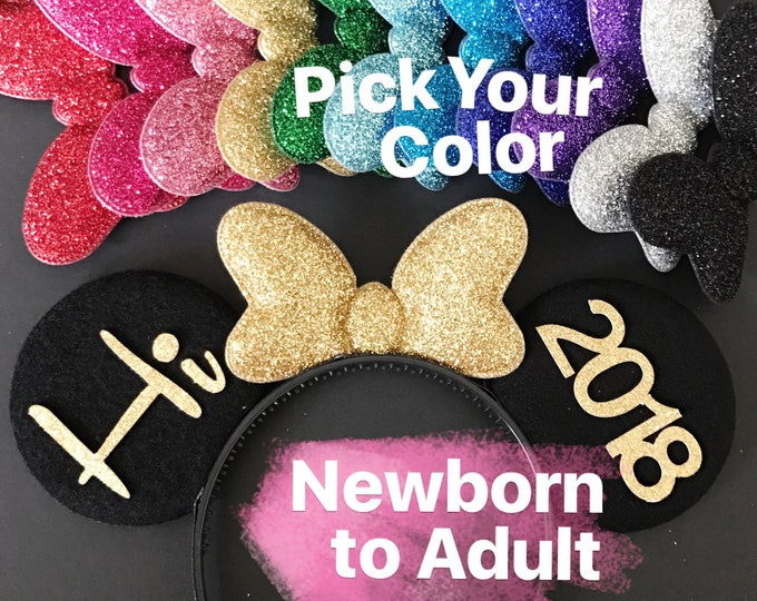 2018 Minnie Ears,New Year Ears,Personalized Minnie Ears,Customizable Mickey Ears,Customized Ears,Minnie Elastic Headband, headband with name