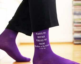 Brother of the Bride/Groom Socks - Always My Brother Custom Printed Wedding Socks - Assorted Styles Personalized With Wedding Date
