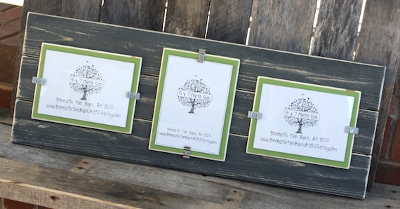 Picture Frame - Triple 5x7 - Distressed Wood - Holds 3 - 5x7 Photos ...
