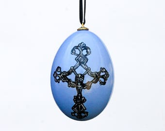 Blue Cross Goose Egg Ornament