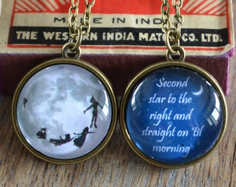 """Peter Pan Inspired """"Second star to the right ..."""" double sided quote Necklace"""