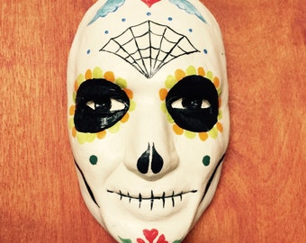 Sugar Skull 1/4th Scale Hanging Wall Art, Sugar Skull Art, Dia de Los Muertos Art