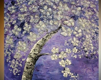 SALE Large Oil Landscape painting Abstract Original Modern palette knife  Cherry Blossom Tree  impasto oil painting by Nicolette Vaughan Hor